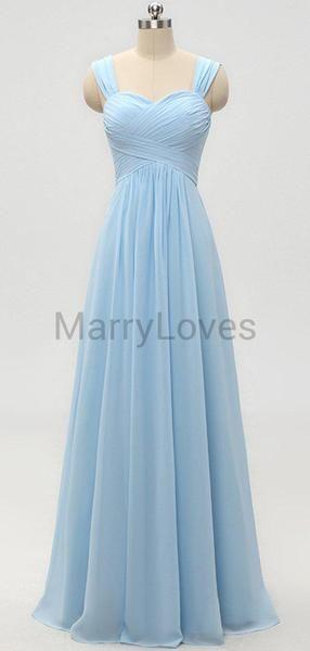 New Arrival A-Line Sweetheart Two Straps Chiffon Long Bridesmaid Dresses With Pleats,YBD0002 #nikolausbacken