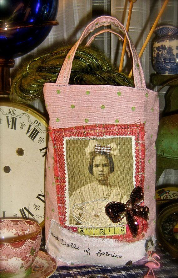 Pink tote bag small knitting sack vintage by pinksewingroom, $28.00