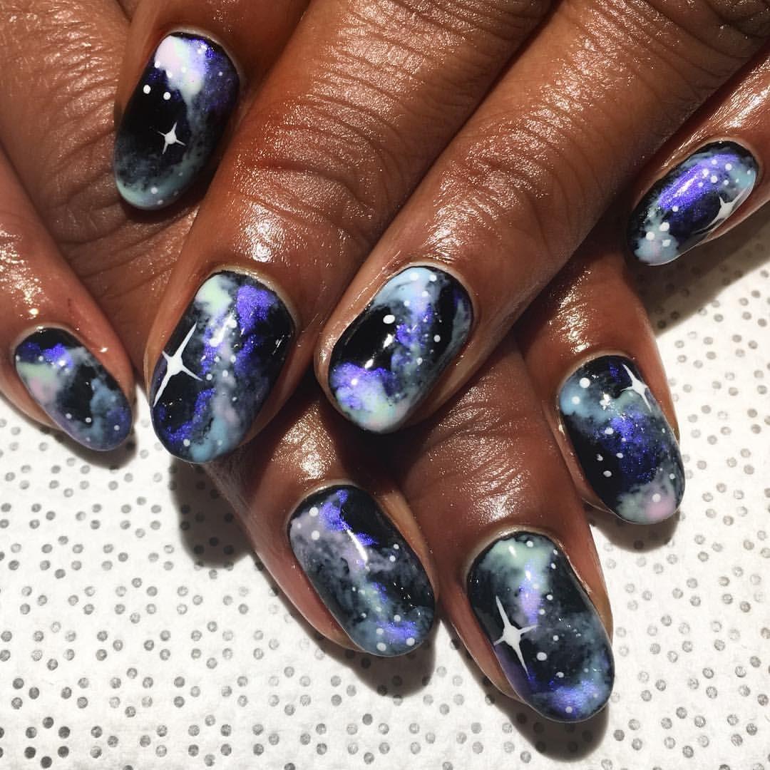 Black purple and white galaxy 🌌 gel nails #blackgirlnails #galaxy ...