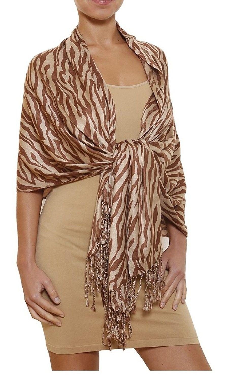6d511dd613cc3 Gilbin Luxurious Animal Print Silk Blend Pashmina Shawl Wrap- Zebra Leopard  Patterns - Zebra-tan - CK1256P5PSR - Scarves & Wraps, Wraps & Pashminas # SCARVES ...