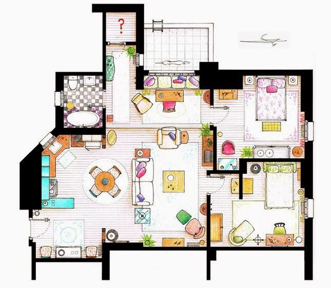 Floor Plans Of Your Favourite Tv Shows Friends Apartment Sims House Plans Sims House