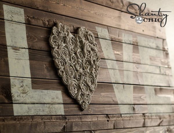 DIY Wall Art ~ LOVE | Fabric flowers, Wood signs and Fabrics