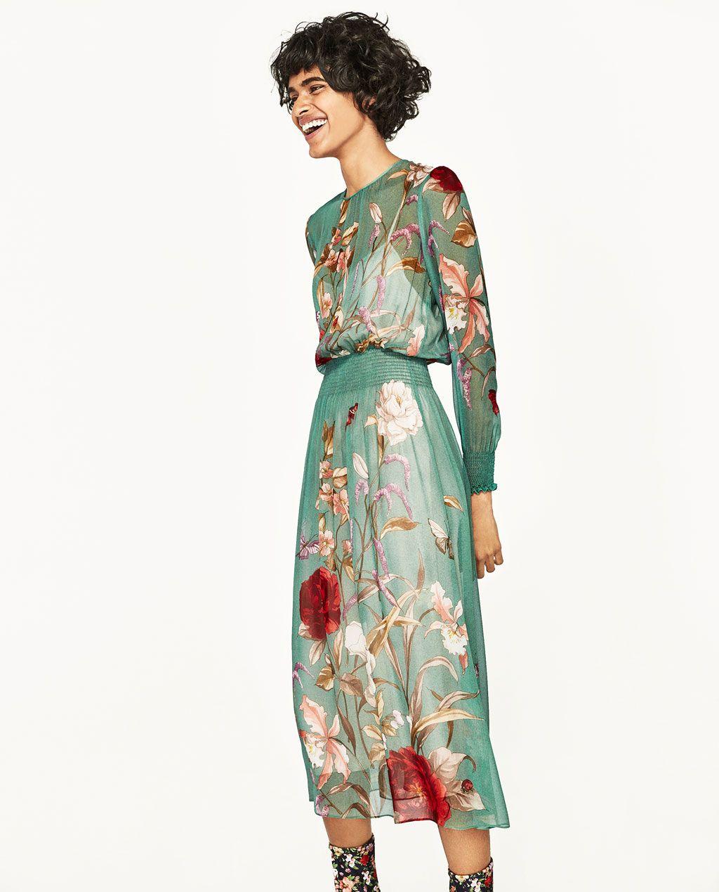 ab2eb5af Bild 2 av VID KLÄNNING MED BLOMMÖNSTER från Zara Zara, Wrap Dress, Wrap  Around