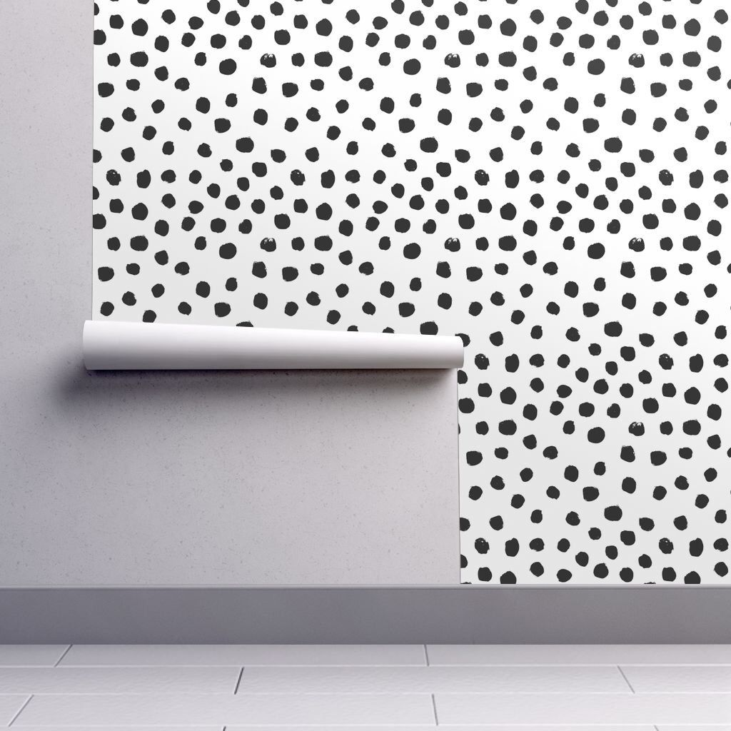 Black And White Wallpaper Spots Black And White By Charlottewinter Custom Printed Removable Self Adhesive Wallpaper Roll By Spoonflower Nursery Wallpaper Self Adhesive Wallpaper Black White Wallpaper