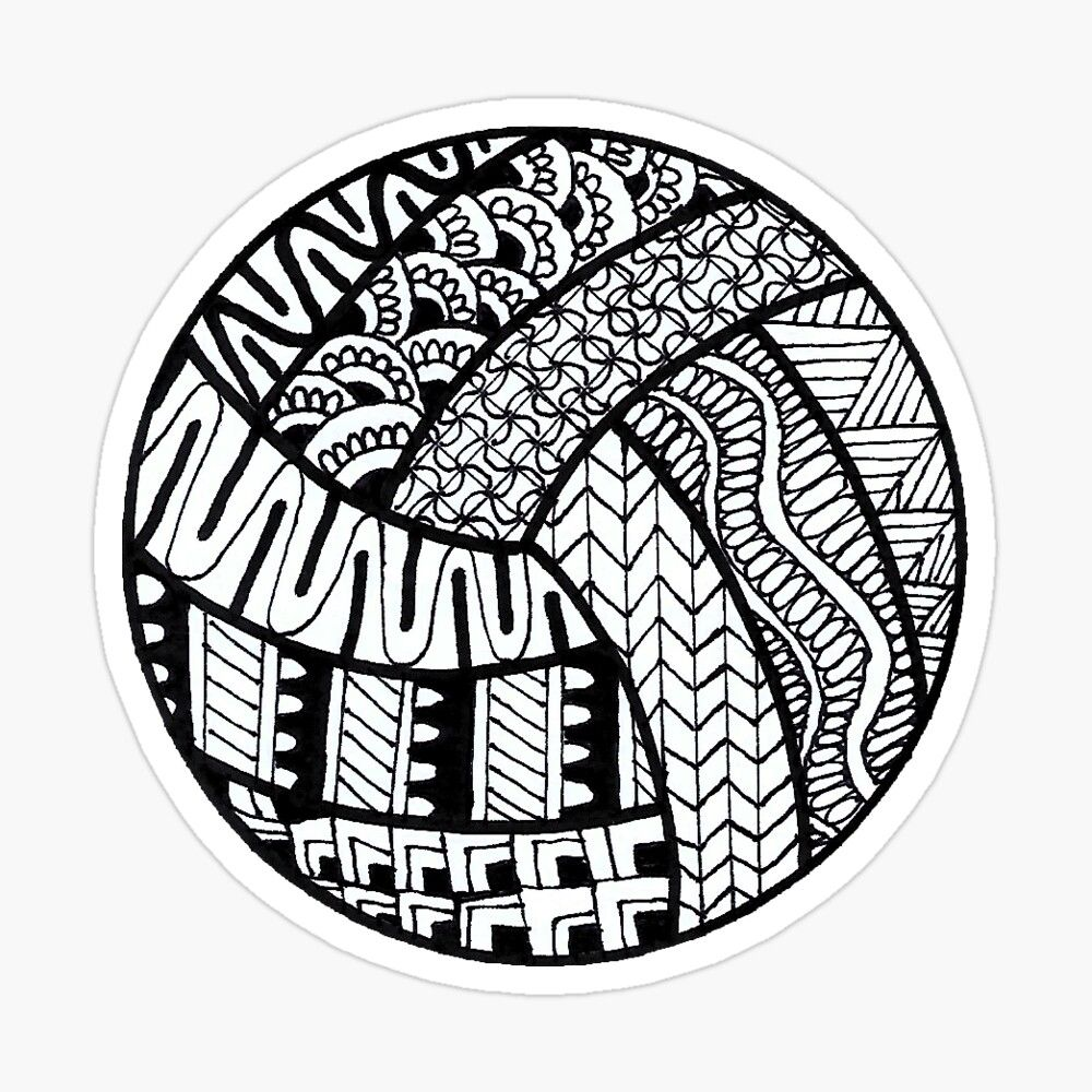 Volleyball Zentangle Glossy Sticker By Cybmp In 2020 Zentangle Transparent Stickers Coloring Stickers