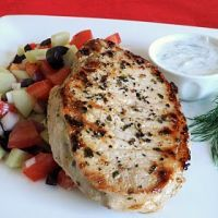Greek-Style Pork Chops -I used 2 thin, no bone, pork chops.  Marinade was barely enough to cover both, so consider doubling, at least, all ingredients.  I followed the recipe exact. We grilled the chops and they were tasty.  We will make these again.