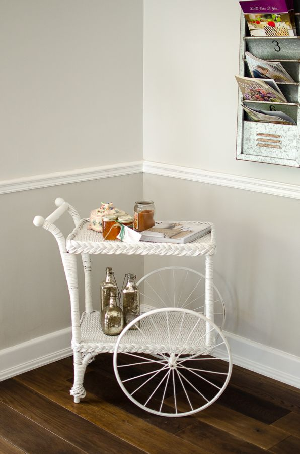 Antique wicker tea cart - Decklan House at Up the Creek Farms