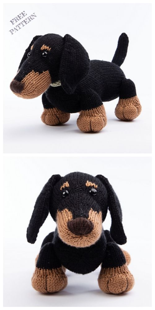 Knit Dachshund Dog Free Knitting Pattern+++++