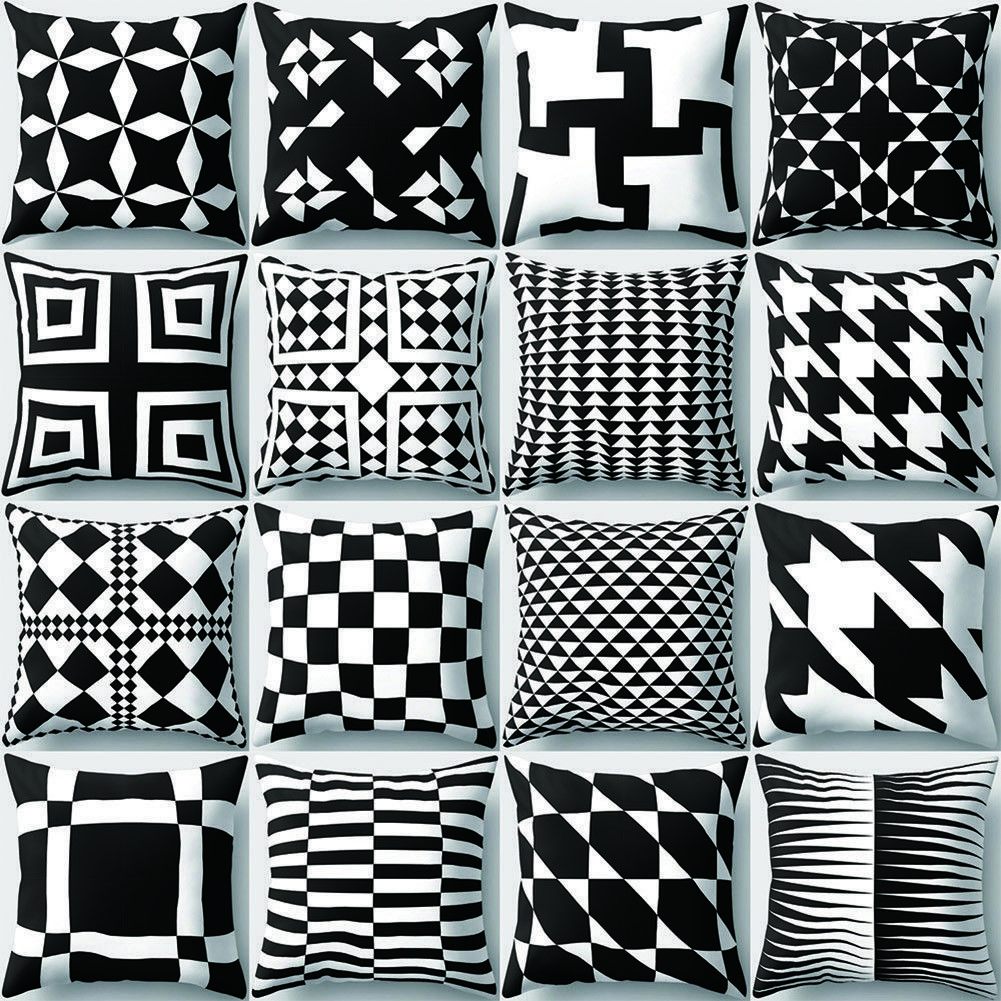 Black And White Geometric Pattern Cushion Pillow Case