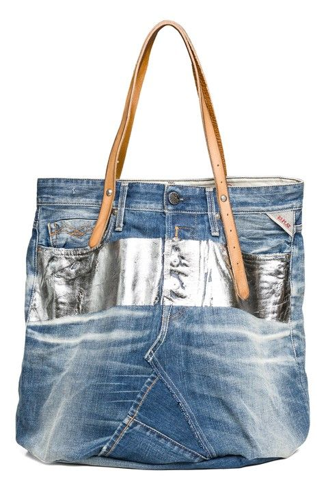 5df33e3f5d89 Big bombé vintage denim tote bag (L50 X H60 cm) with leather handles ...