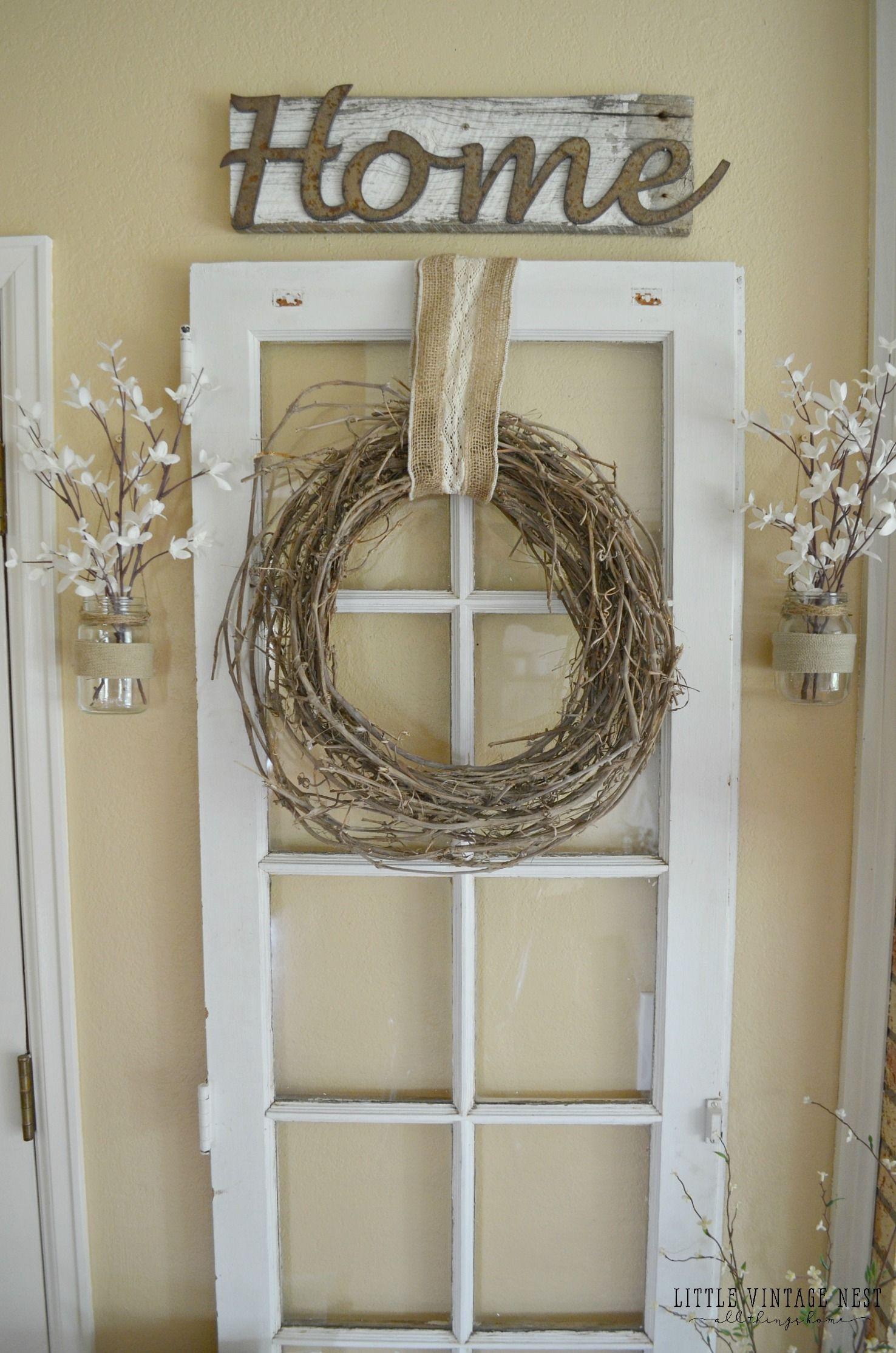 Old window decor  vintage inspired entryway  doors vintage and house