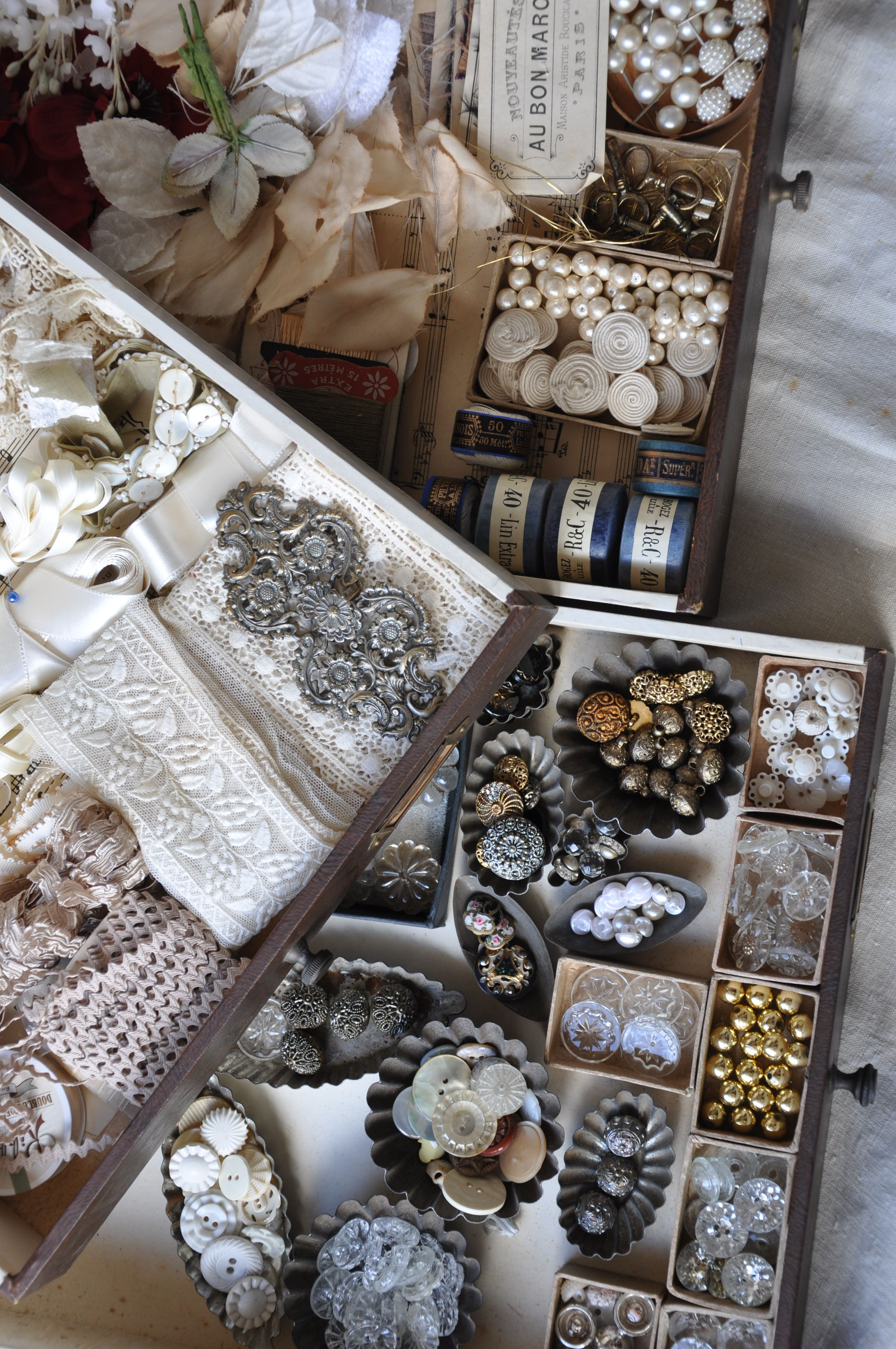 Antique French buttons, lace and accessories from my private collection. Similar can be found in our shop Lily Pond