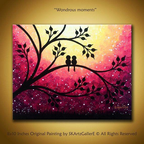 Dies ist ein Original Kunstwerk der Liebesvögel auf Ast. Dieses schöne wunderliche lilane Sonnenuntergang Gemälde ist auf einer 8 x 10 Leinwand erstellt. Die Silhouette Vögel auf Baum werden eine wunderbare Ergänzung zu Ihrer Familie Zimmer-Wand-Dekor, Hochzeitsgeschenk,
