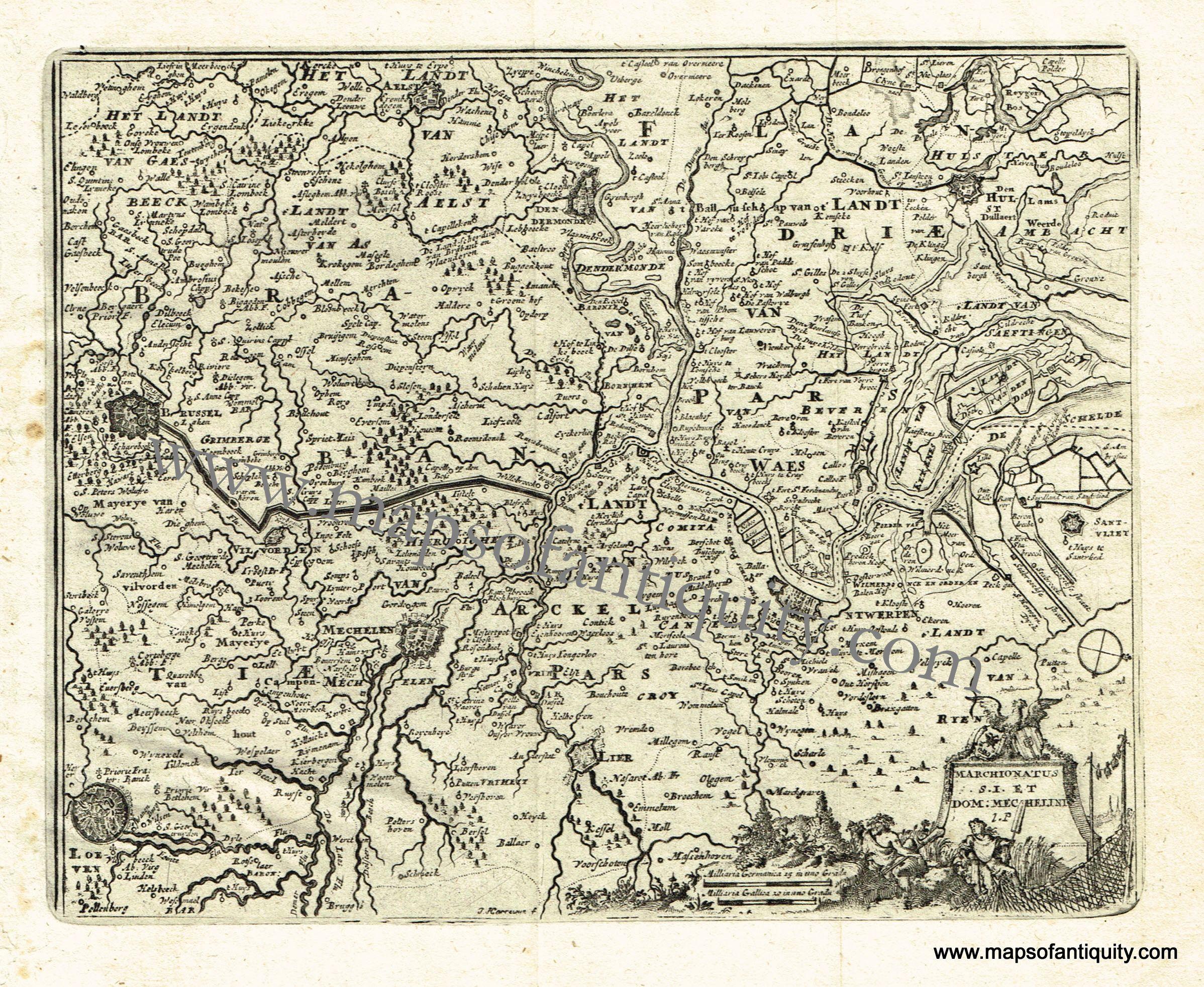 antique map belgium brussels antwerp mechelen louvain 1725