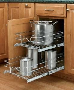 15 Inch Double Pull Out Chrome Wire Shelf This Roll Out Drawer Shelf Is Perfect For Mounting Under The Sink Kitchen Cabinet Pulls Kitchen Cabinets Rev A Shelf