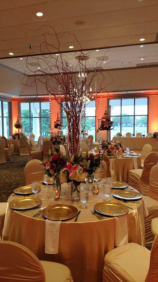 ruched spandex chair cover exercises for abs indian fusion wedding reception with champagne covers linens and gold accents in the ballroom at sugar creek country club