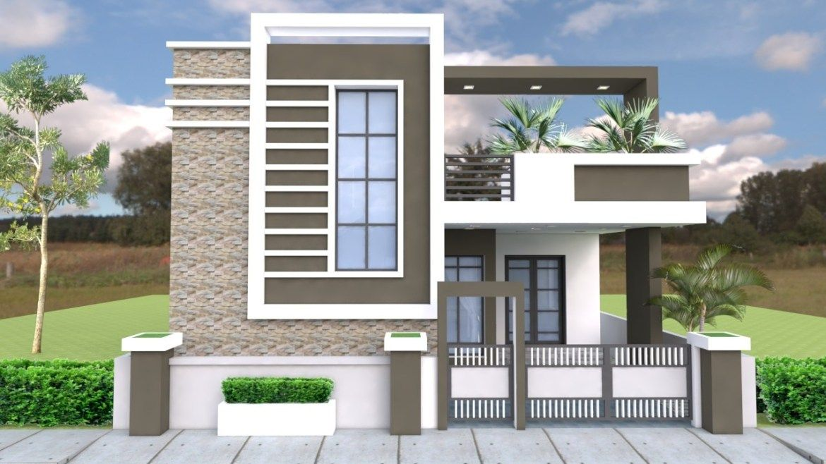 One Story House With 3 Bedroom Plot 36x50 Samphoas Plansearch Duplex House Design Single Floor House Design Small House Elevation Design