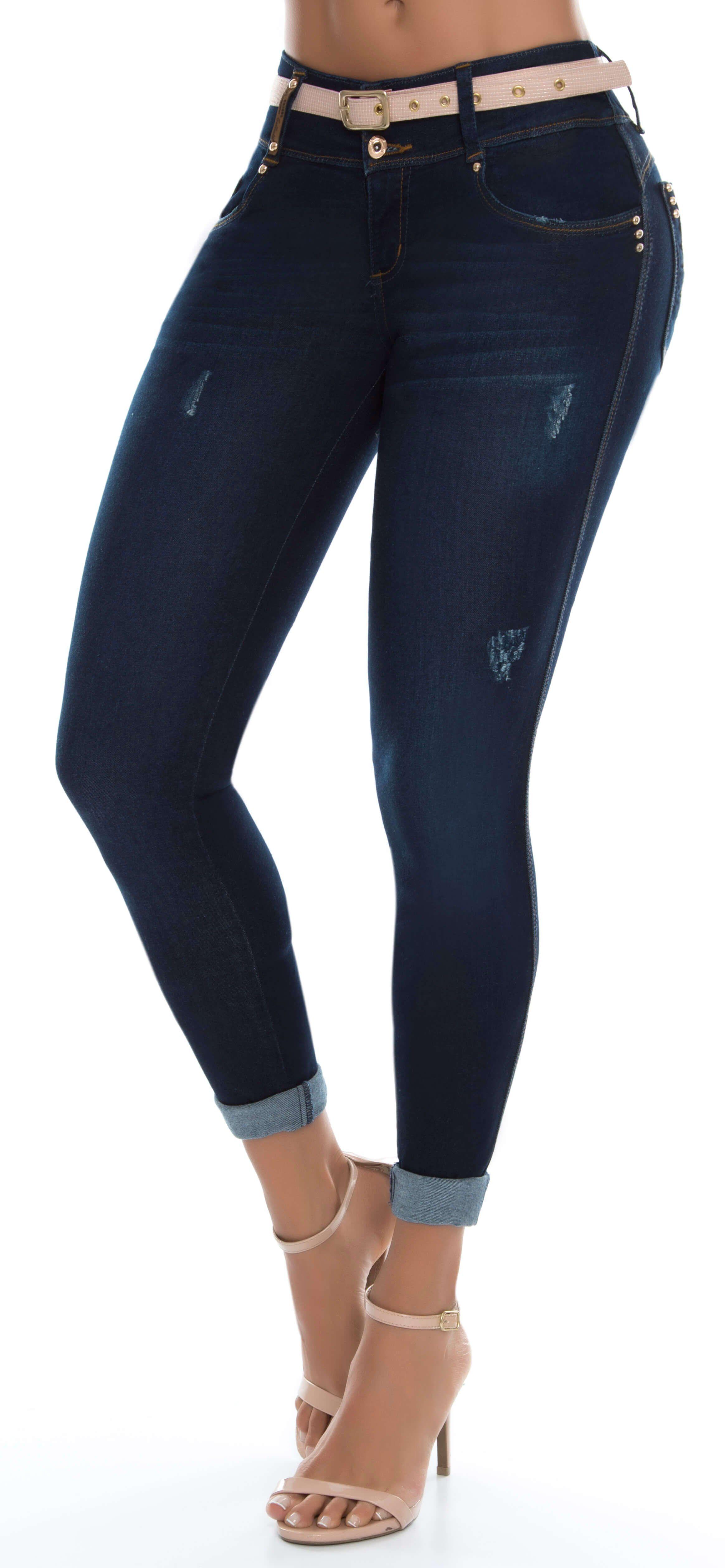 e9202e2014 Jeans levanta cola tiro medio color azul Ref  78976 marca LUJURIA. Silueta  ajustada con efecto push up