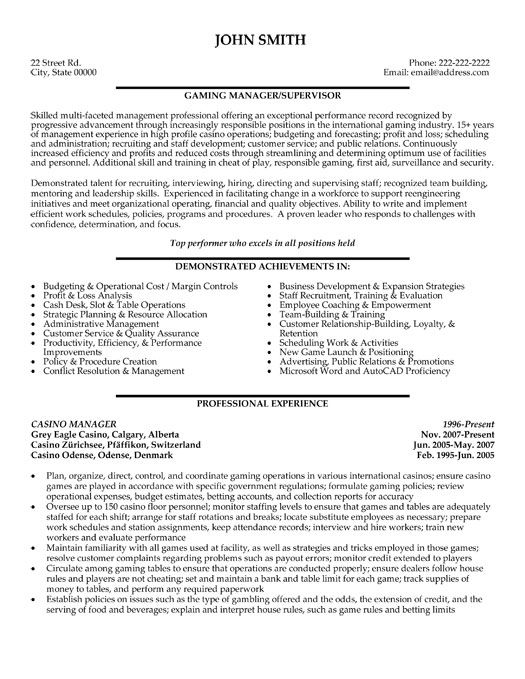 templates for sales manager resumes Casino Manager Resume - emt resume