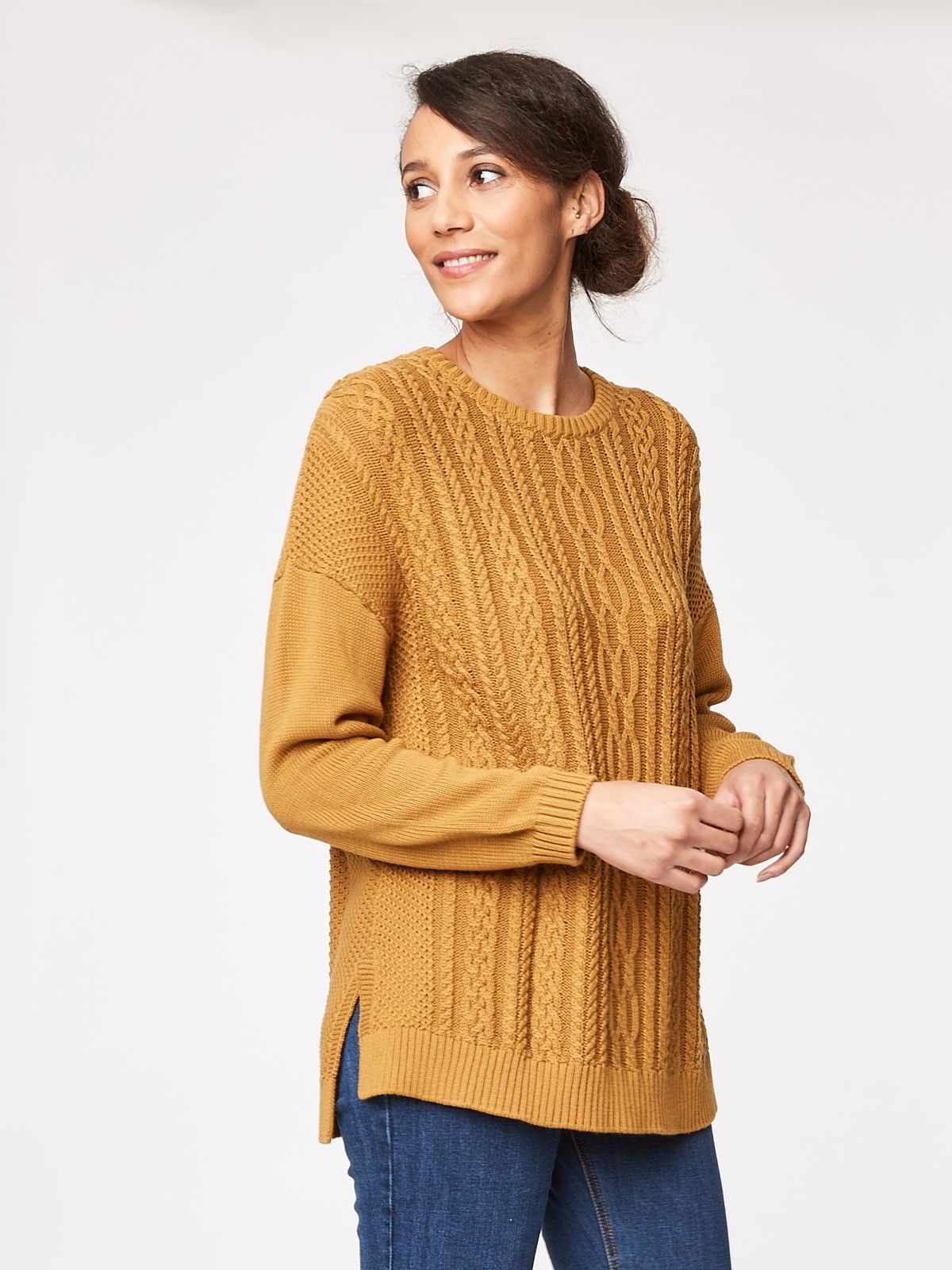 Fairfield Mustard Cable Knit Jumper   wish list clothes ...