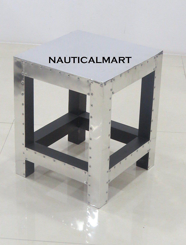 ALUMINUM AVIATOR SIDE TABLE MODERN STOOL BY NAUTICALMART: Amazon.co.uk:  Garden