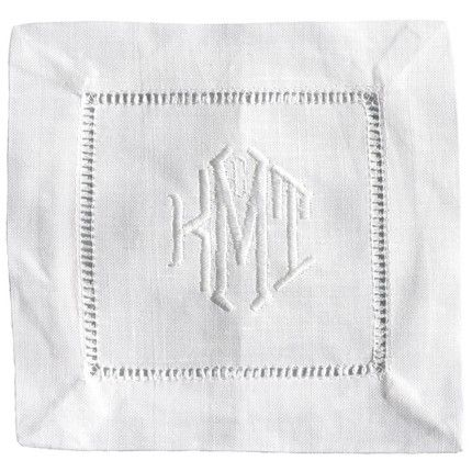 Monogrammed linen cocktail napkins - custom embroidered | Embroidered For  the Home | Pinterest | Napkins, Monograms and Linens