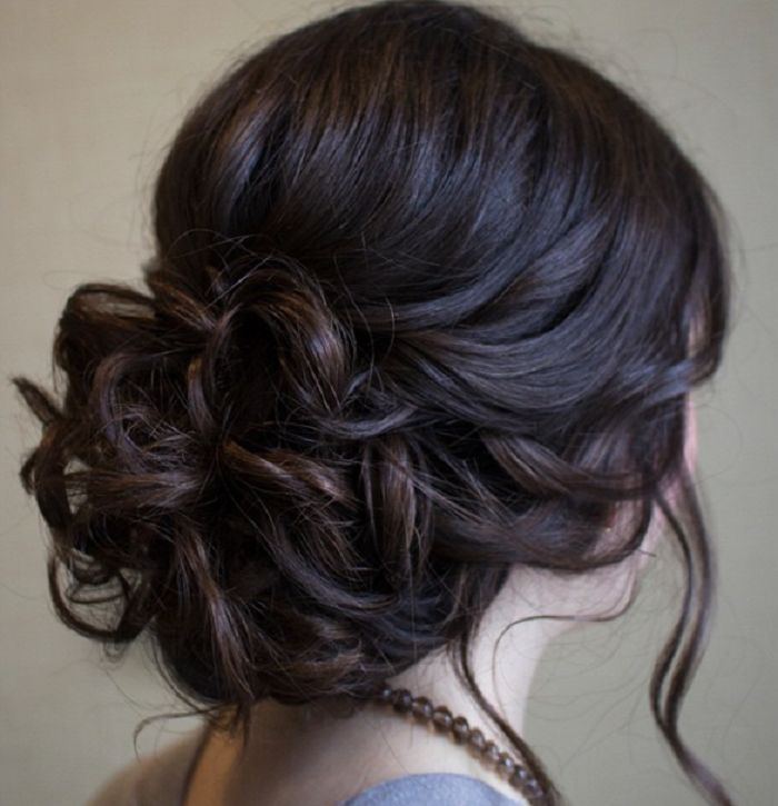 Chic Messy Wedding Updo For Straight Hair Bridal Hairstyle