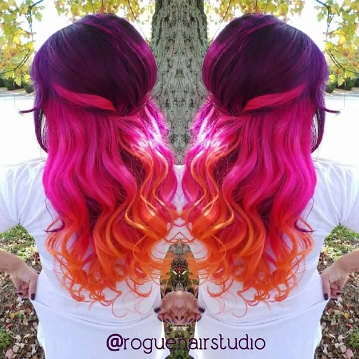 Purple Hot Pink And Orange Hair Color 3
