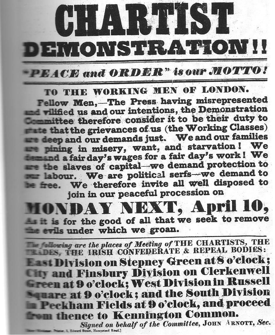 Poster Advertising The Great Chartist Meeting 1848 London My