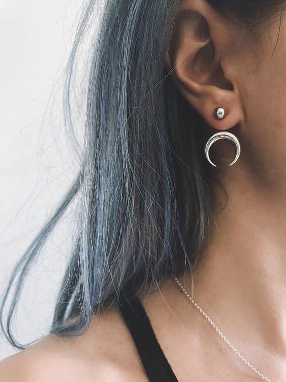 Sterling silver ear jacketmoon earringsdouble horn ear 00ec3f07c