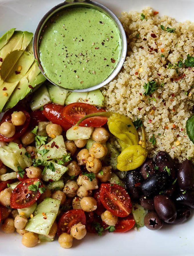 Mediterranean Quinoa Salad Bowl With Green Goddess Dressing