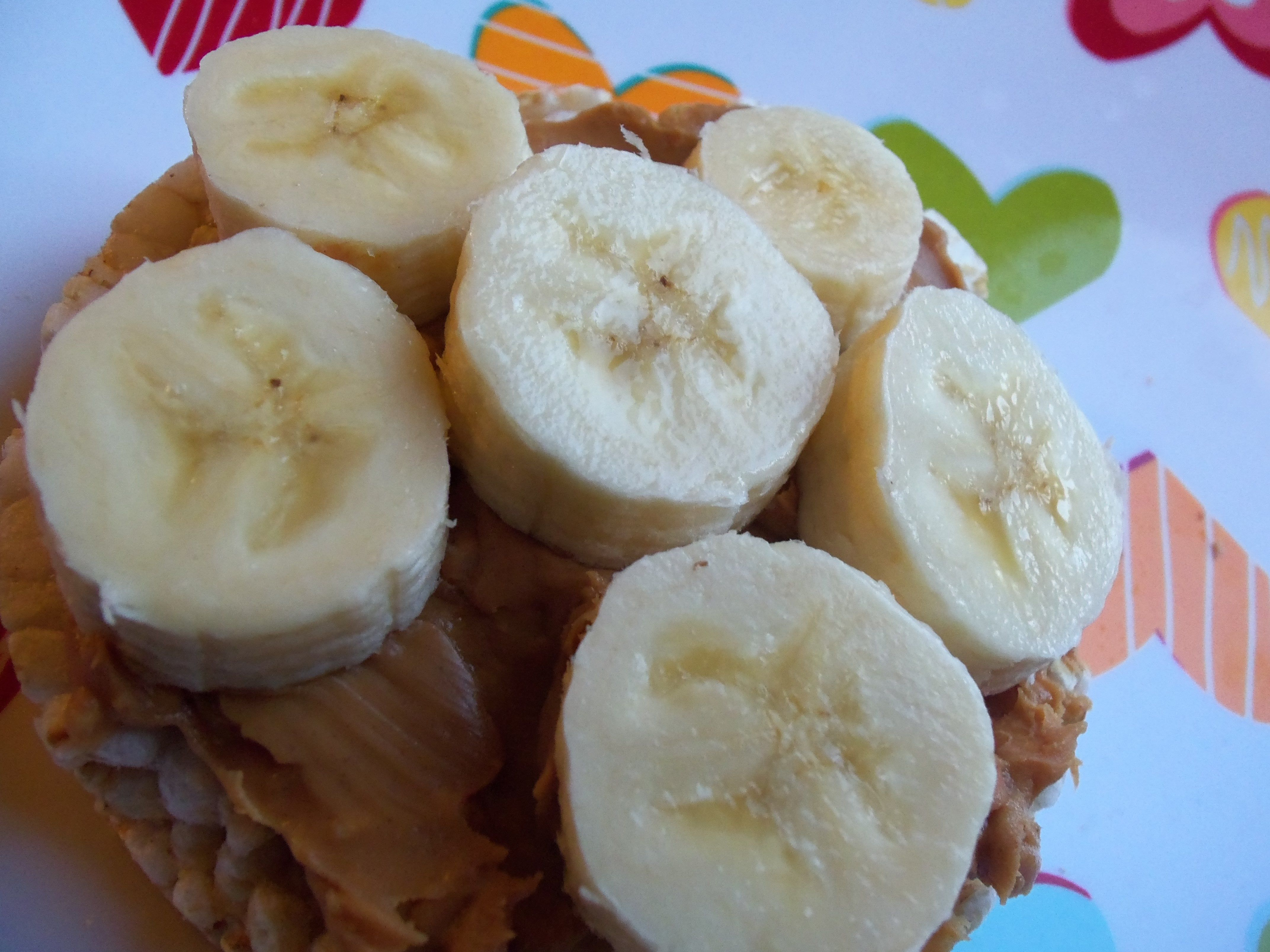 Healthy snack brown rice cake with peanut butter and