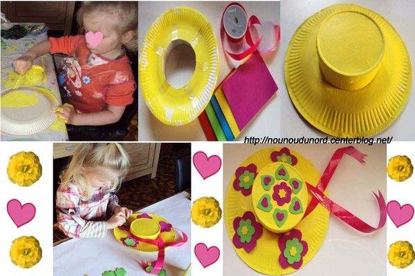 chapeaux de printemps r alis s avec des assiettes carton. Black Bedroom Furniture Sets. Home Design Ideas