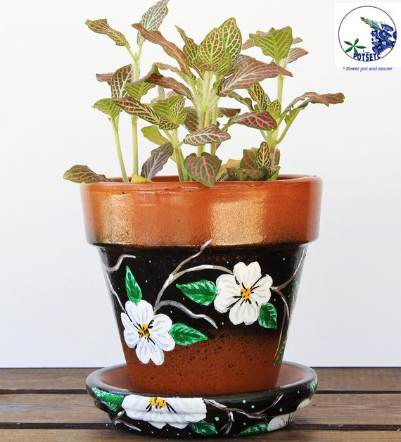 White Flowers On Painted 4 Inch Flower Pots Decorative Pots For Indoor Plants Plant Pot Planter With Floral Vine Potsetc Painted Flower Pots Flower Pots Decorative Pots