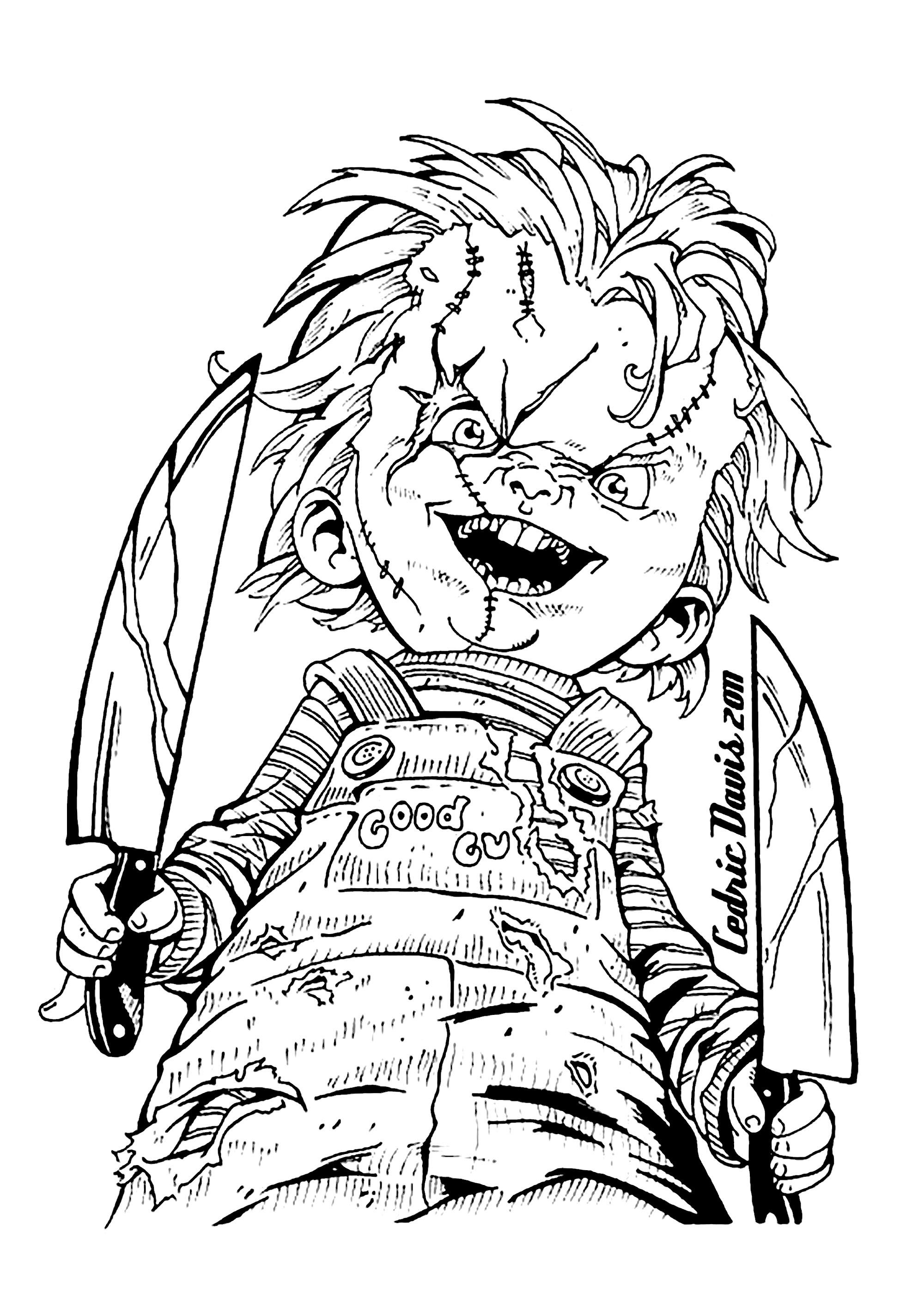 Color This Scary Chucky Coloring Page For Halloween From The Gallery Halloween Scary Coloring Pages Halloween Coloring Pages Halloween Coloring