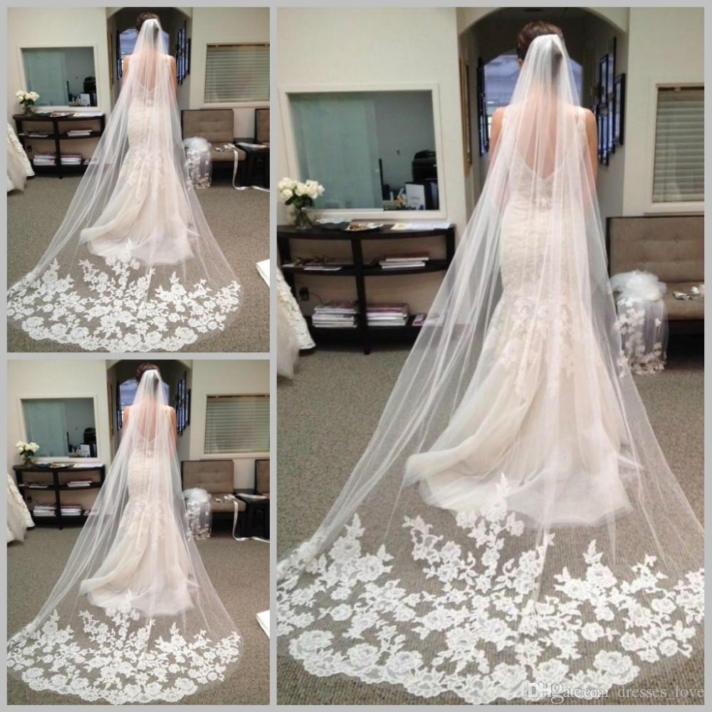 Veu De Noiva Longo Limited Hot Sale Ivory Wedding Veils 2015 Best Long Chapel Length Bridal Veils Wedding Veil Lace Veus De Noiva Longos Veus De Noiva Noivado
