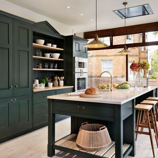 Green Kitchen Cabinets Images: Painted Kitchen Ideas For Walls