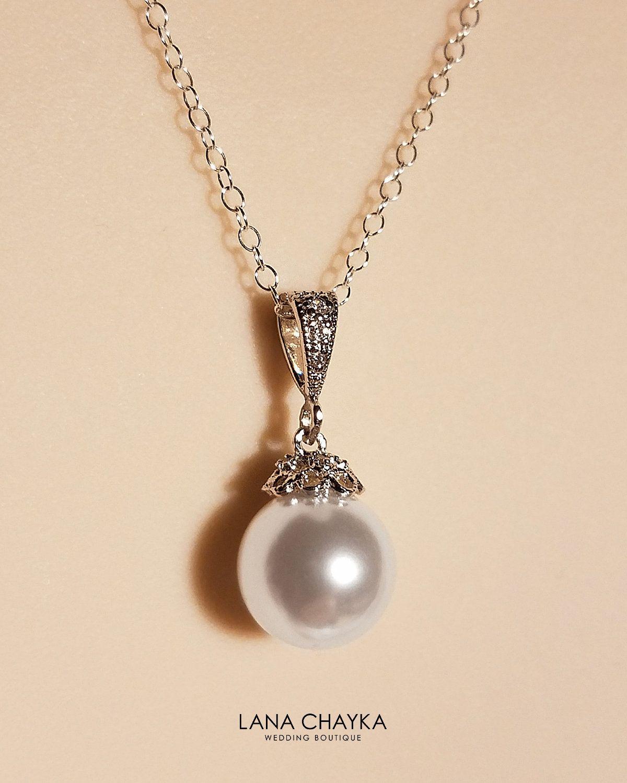 White Pearl Bridal Necklace, Swarovski 10mm White