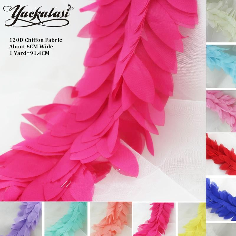 3D Chiffon Flower Appliqued Lace Boa Trim Sewing Fringe Lace Ribbon Bow Skirt LacePink Mint Green White Black 6CM Wide
