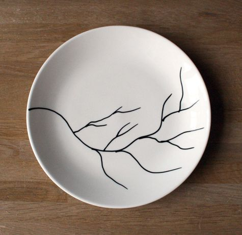 Decorate with porcelain no bake markers that can go in the for Diy ceramic plates
