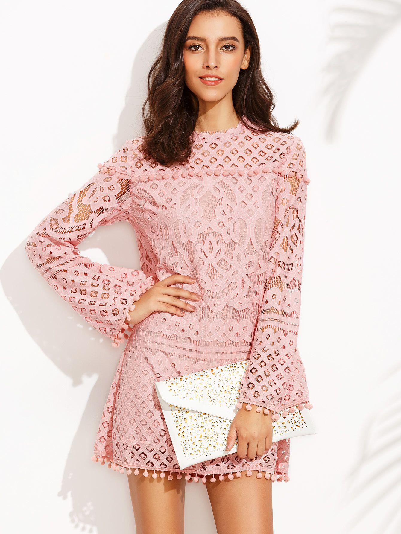 Vestido crochet pompones manga larga - rosa-Spanish SheIn(Sheinside ...