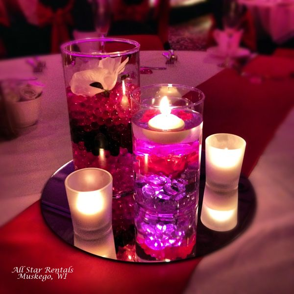 Round Mirror Cylinder Vases Candles Water Beads Crystals And Flowers MirrorsWedding CenterpiecesSweet