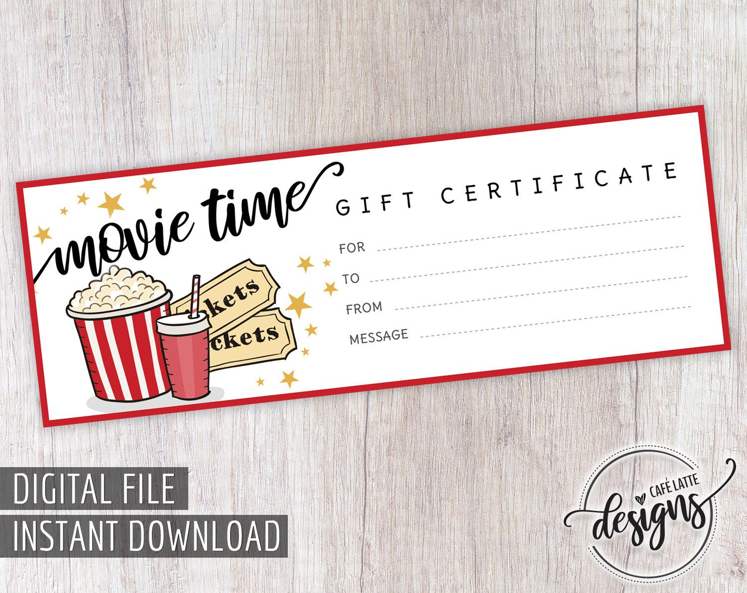 Movie Gift Certificate Birthday Gift Certificate Printable Movie Gift Coupon Gift Instant Download Last Minute Gift For Kids Teens Diy Movie Gift Birthday Gifts For Grandma Printable Gift Certificate
