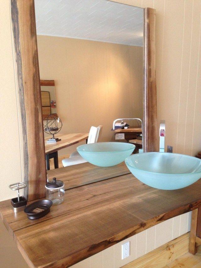 Waschtisch Holz Rundes Matt Glas Aufsatzwaschbecken Bad