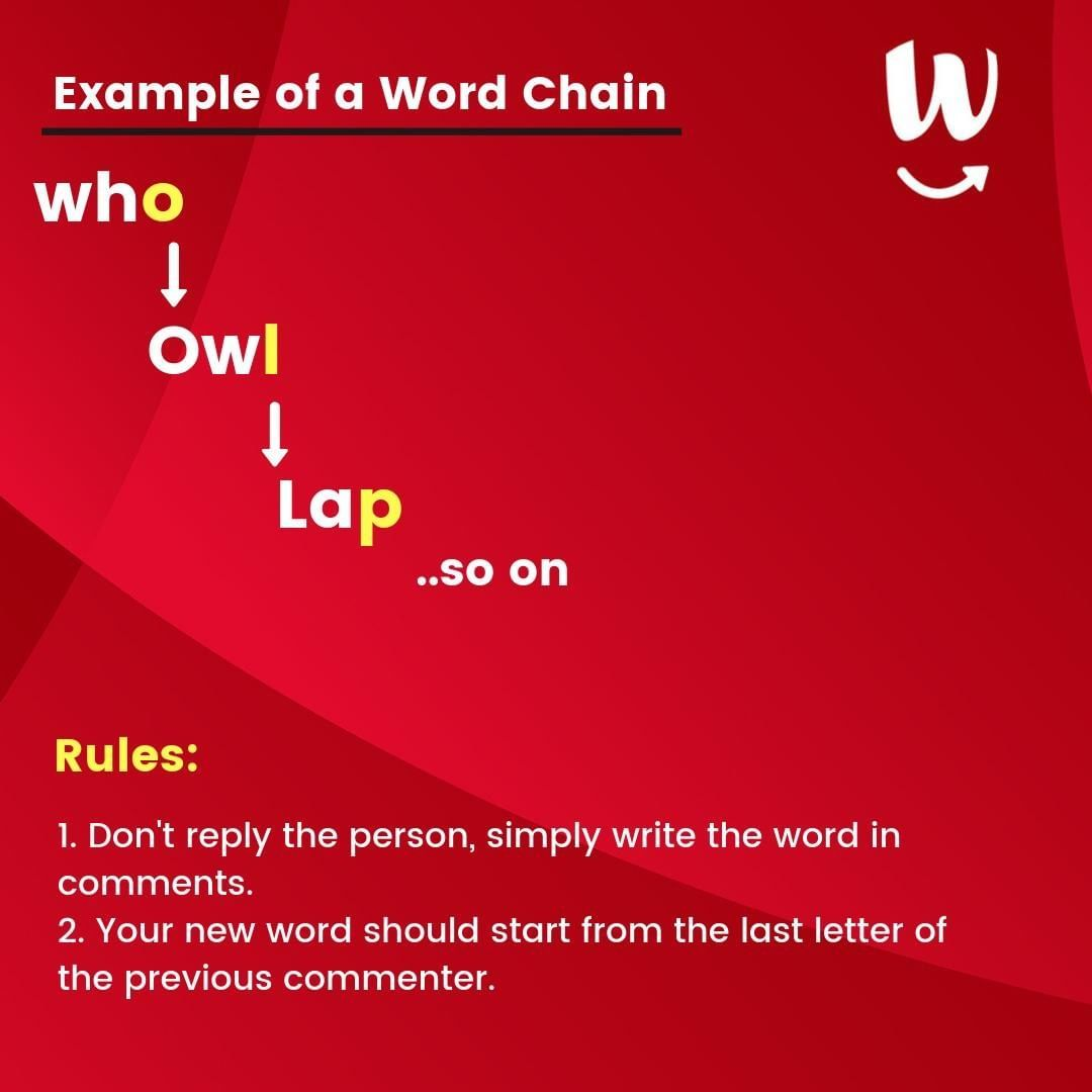 Ready To Play Word Chain The Game Is Pretty Simple 1 The First Word Would Be Given By Us 2 The First Person Deeper Learning New Words Words