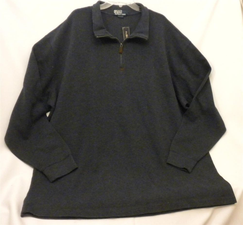 NWT Men's 4XL Tall Half-Zip Mock Neck Pullover Sweatshirt Sweater Grey Blue #PoloRalphLauren #12Zip