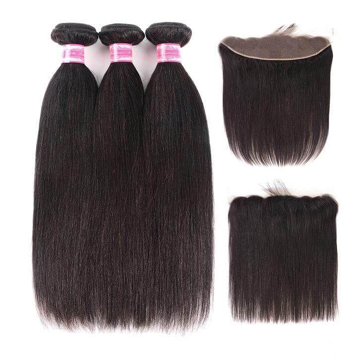 eullair Brazilian Virgin Hair Straight 3 Bundles with 13*4 Lace Frontal #virginhair