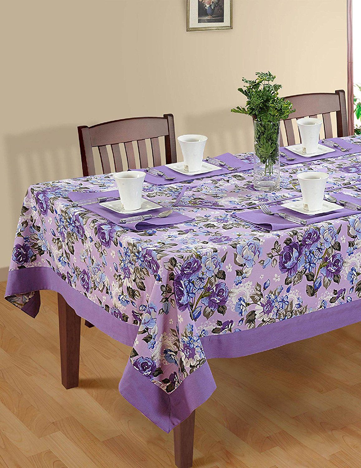 Awesome Colorful Multicolor Cotton Spring Floral Tablecloths Tables 60 X 102  Inches, Purple Border * Startling