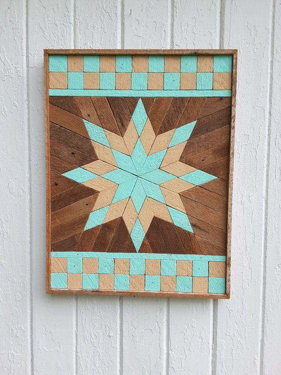Star Wall Art reclaimed wood wall art, lath art, painted star, wall decor