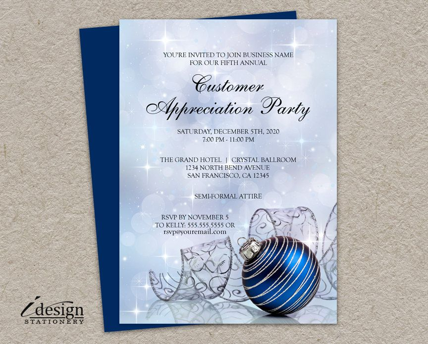 free printable0th wedding anniversary invitations%0A Holiday Customer Appreciation Invitations   Printable Christmas Client  Appreciation Invitation With Blue Ornament And Ribbon by